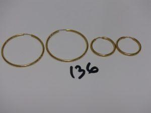 2 Paires de créoles en or. PB 5,8g