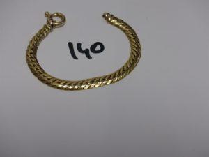 1 bracelet maille anglaise en or (L19cm, un peu cabossé). PB 13,4g