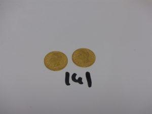 2 Pièces de 20 lires en or. PB 12,9g