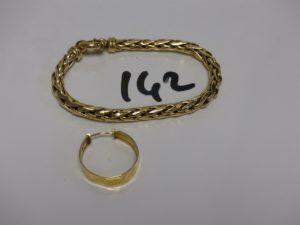 1 bracelet maille palmier (L19cm, un peu cabossé) et 1 créole. Le tout en or PB 19,2g