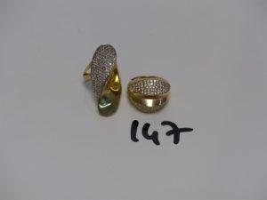 2 bagues en or ornées de petites pierres (2 chatons vides, td55). PB 10,5g