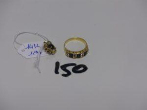 1 bague en or ornée de pierres bleues et de petits diamants (td51). PB 3,4g + 1 petit pendentif en alliage 14K orné d'une pierre bleue entourage petits diamants PB 1,9g. Le tout 5,3g