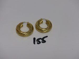 1 paire de créoles torsadées en or. PB 8,6g