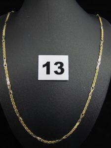 1 chaine en or maille alternée fantaisie (L 49cm). PB 8,6g