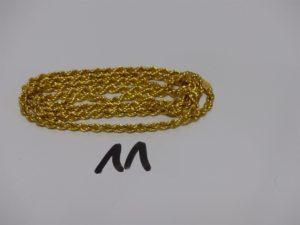 1 collier maille corde en or (L77cm). PB 18,8g