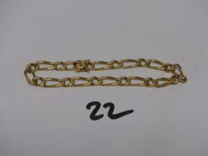 1 bracelet maille gourmette en or (L21cm). PB 20,4g