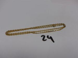 1 chaîne maille plate en or (L51cm). PB 4,5g
