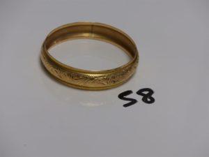 1 bracelet rigide ouvragé en or (diamètre 6,5cm). PB 20,1g