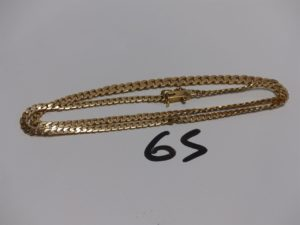 1 collier maille gourmette en or (L45cm, sécurité cassée). PB 16,3g