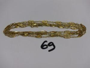 1 sautoir en or à motifs filigranés (L130cm). PB 29,8g