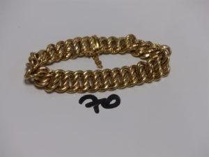 1 bracelet maille américaine en or (1 peu cabossé,L19cm). PB 27,1g
