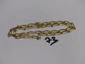 1 chaîne maille alternée en or (L65cm). PB 30g