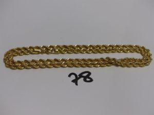 1 collier maille corde en or (L68cm). PB 22,3g