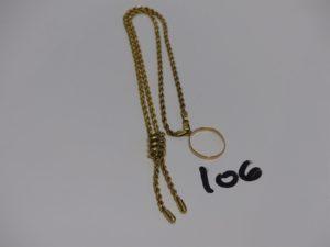 1 collier maille corde en or motif central orné de pampilles (L40cm) et 1 alliance en or (intèrieur gravé, Td52). PB 7,3g