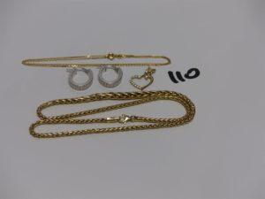 1 collier maille palmier (L38cm) 1 chaîne fine maille forçat (L38cm) 2 créoles ouvragées et 1 petit pendentif coeur orné de petites pierres. Le tout en alliage 9K. PB 10g