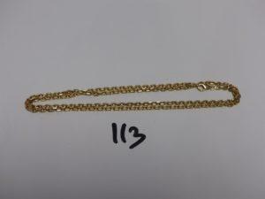 1 chaîne maille forçat en or (L62cm). PB 22g
