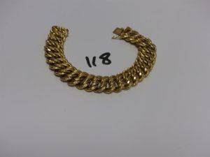 1 bracelet maille américaine en or (L20,5cm). PB 42,3g