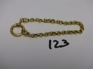 1 bracelet maille jaseron abîmé en or (L22cm). PB 17,7g (fermoir à réparer)