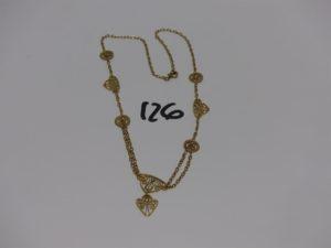1 collier draperie en or (fermoir cassé, L42cm). PB 8,8g