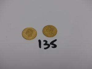 2 pièces de 20 Lires Umberto I en or. PB 12,9g