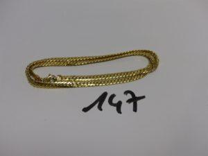 1 collier maille anglaise en or (abîmé,L43cm). PB 12,3g