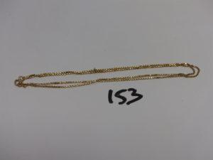 1 chaîne maille carrée en or (L60cm). PB 7g