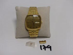 1 montre automatique Homme en or de marque OMEGA (à réparer, L17cm) + petite rallonge pour bracelet). PB 91,7g