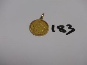 1 pendentif en or serti-griffes 1 pièce de 20frs RFA1850. PB 7,6g