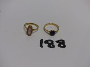 2 bagues enor : 1 ornée d'1 camée usé (Td55) et 1 ornée d'1 Lapis Lazuli (Td55). PB 5,1g