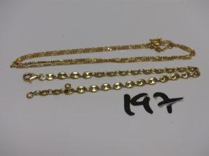 1 bracelet maille grain de café en or (L18cm) et 1 chaîne maille alternée en or (L42cm, fermoir à fixer). PB 10,1g