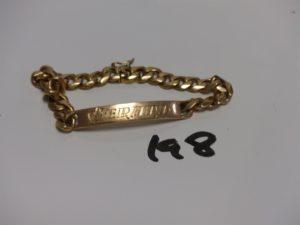 """1 bracelet gourmette en or gravée """"Gérard"""" (L19cm). PB 40g"""