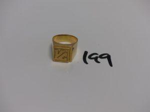 """1 chevalière en or initiales """"VG"""" gravées (Td62). PB 11,5g"""