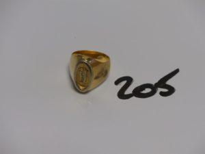 """1 chevalière en or gravée """"M"""" (Td52). PB 14,6g"""