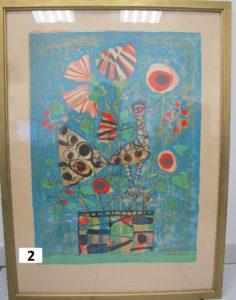 1 Divers Paul Aizpiri oiseau et vase de fleurs . lithographie signée et numé rotée 164/250.