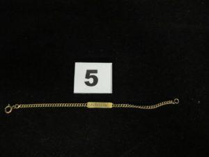 """1 Gourmette d'identité enfant, en or gr avée """"Annie"""" (L 13cm). PB 3g"""