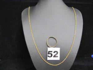 1 Chaine maille forçat (ressort du fermoir à changer, L 50cm) et 1 alliance cabossée (TD 58). Le tout en or. PB 7,3g
