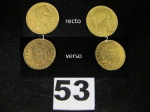 2 Pièces, 1 Napoléon III tête laurée année 1863 et 1 pièce 20fr Napoléon III année 1857. PB 12,8g