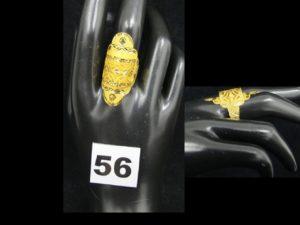 1 Bague or 21k en relief ajouré (TD 57, légèrement cabossée). PB 3,5g