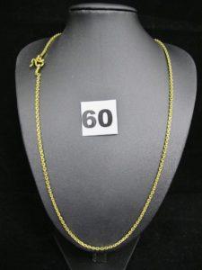 1 Chaine en or 22k (916/1000) en maille forçat / jaseron (L 50cm). PB 14,9g