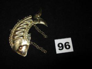 1 élément de ceinture en or, motif poisson (L 9cm). PB 10,4g