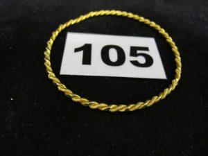 1 Bracelet enfant rigide torsadé (diam 5,3cm tordu). PB 8,2g