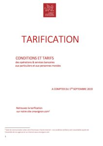 conditions tarifaires applicables au 1er septembre 2019 -clientèle de particuliers et association