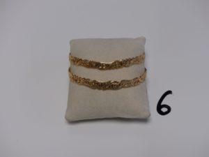 2 bracelets rigides ouvragés en or (diamètre 6,5cm). PB 30,4g