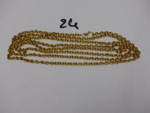 1 collier sautoir maille jaseron en or 22K (L159cm). PB 51,4g