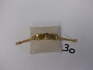 """1 bracelet montre en or pour Dame de marque """"Certina"""" cadran intérieur abimé (L17cm). PB 31g"""