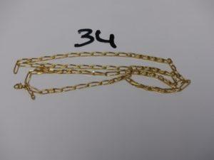 1 chaîne maille alternée en or (fermoir à réparer, L64cm). PB 11,7g