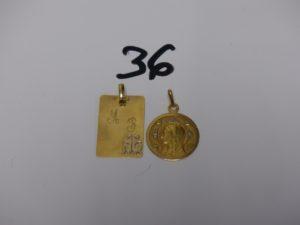1 médaille de la Vierge et 1 pendentif plaque gravée. Le tout en or PB 6,7g
