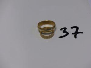 2 alliances gravées à l'intérieur en or (td48 et td67). PB 11g