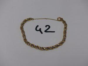 1 bracelet maille corde chaînette entrelacée et chaîne de sécurité (L17cm). Le tout en or PB 12,7g
