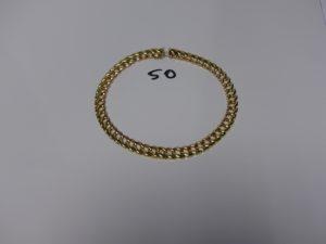 1 collier maille gourmette bicolore en or (ras de cou env 40cm ou diamètre 13cm, maillon à fixer). PB 63,7g